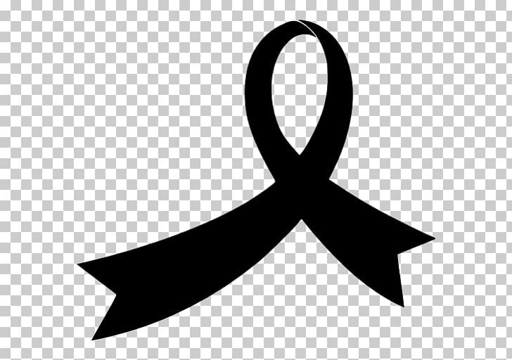 Black ribbon Awareness ribbon , ribbon PNG clipart.