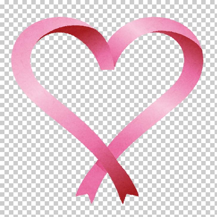 Heart Awareness ribbon Pink ribbon, heart PNG clipart.