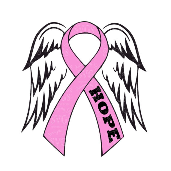 Pink Ribbon and Wings svg Hope Ribbon svg Cause Ribbon svg.