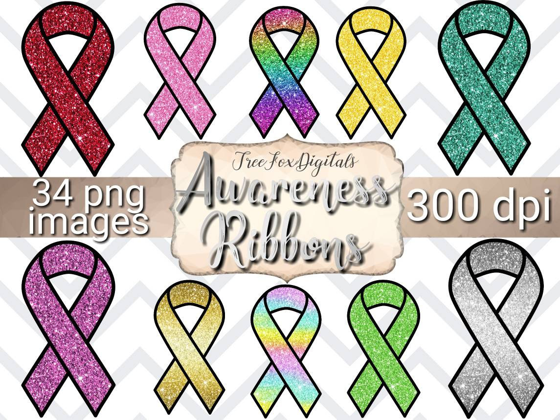 Awareness Ribbon clipart, breast cancer awareness ribbon clipart, childhood  cancer awareness ribbon clipart, all colors awareness ribbons.