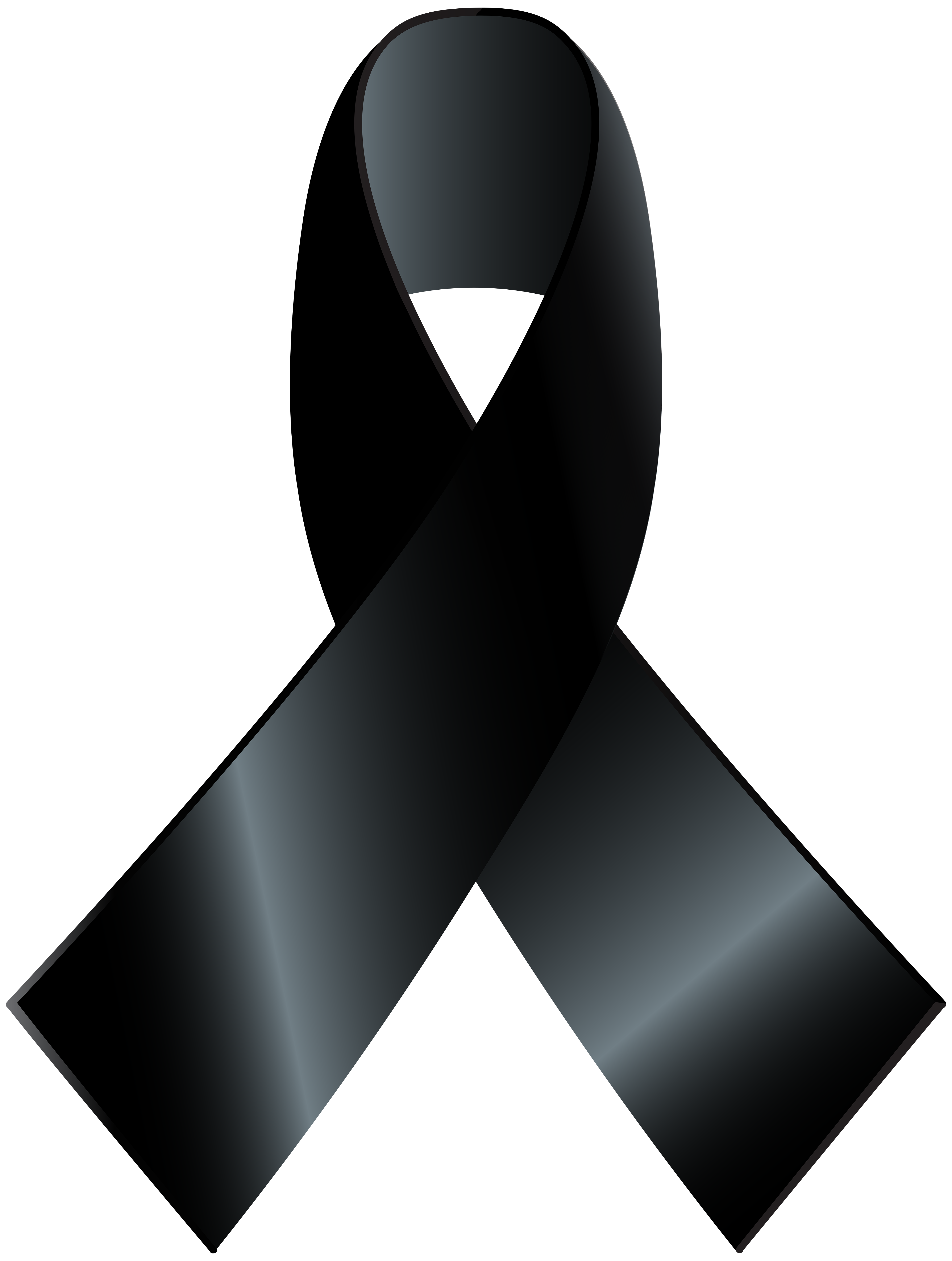 Black Awareness Ribbon PNG Clip Art.