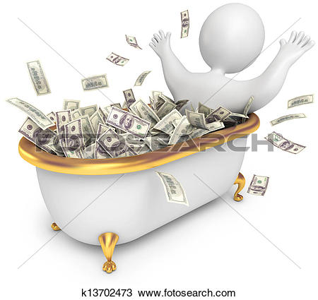 Drawing of People awash in cash k13702473.