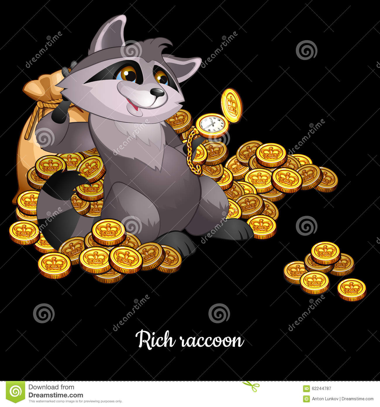 Rich Raccoon Awash In Money, Black Background Stock Vector.