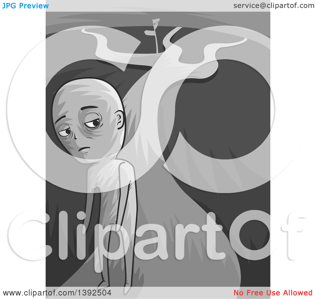 Clipart of a Grayscale Man Turning Away from Cross Roads.