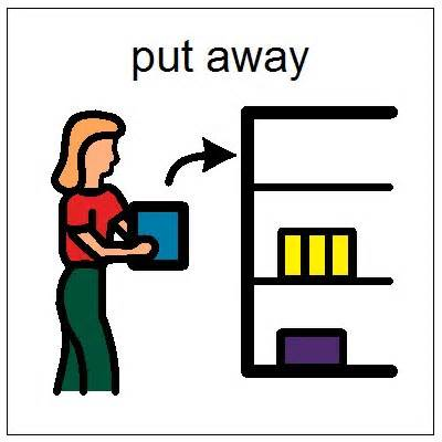 Put things away classroom clipart.