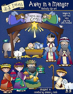 Sweet Christmas nativity clip art by DJ Inkers.