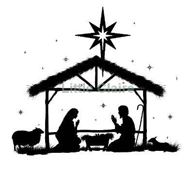 away in a manger Silhouette Clip Art.