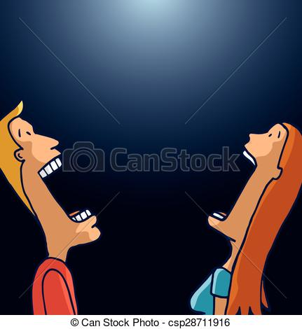 Vector Clip Art of Couple looking up in awe.