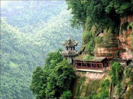 Amazing Chinese Landscape. Imagine building that close to the.