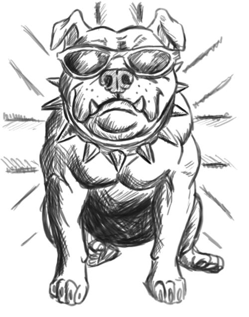 Black Ink Bulldog Tattoo Design By Jack Wargson.