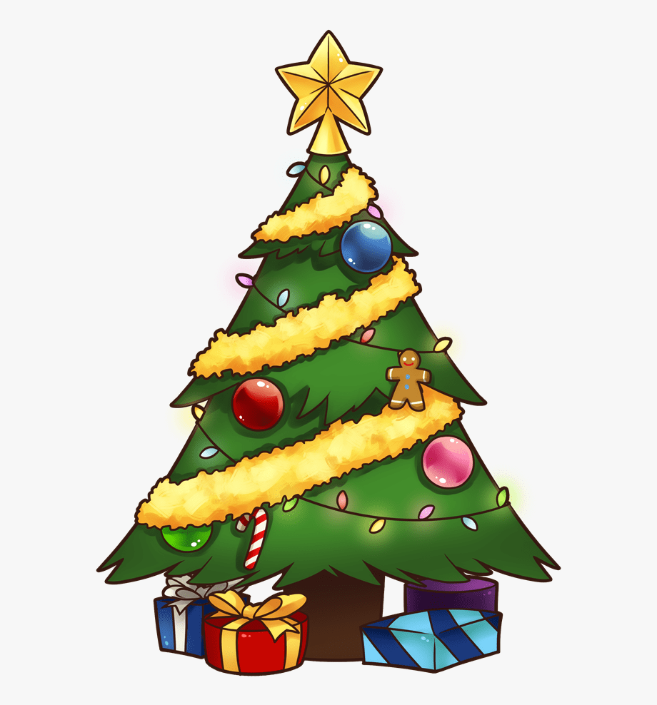 Cartoon Christmas Tree pictures to color, Drawings, Clipart.