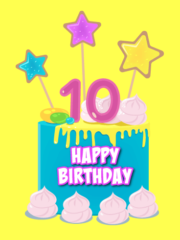 An Awesome Cake! Happy 10th Birthday Card.