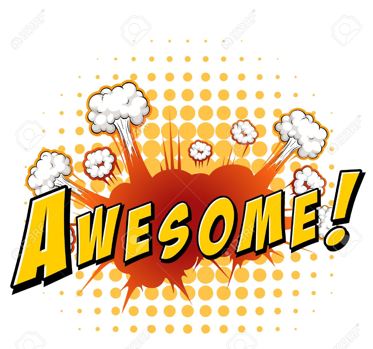 Word awesome with explosion background.