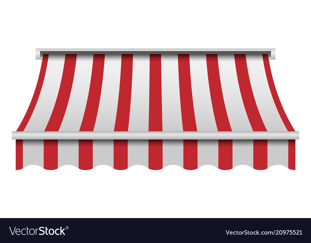 Red and white awning mockup realistic style.