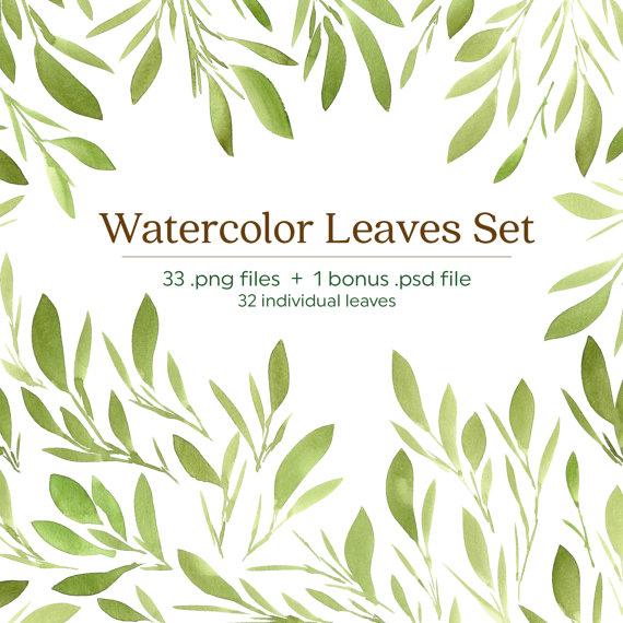 Green Watercolor Leaves Clip Art Set Blog Design by WPAtelier.