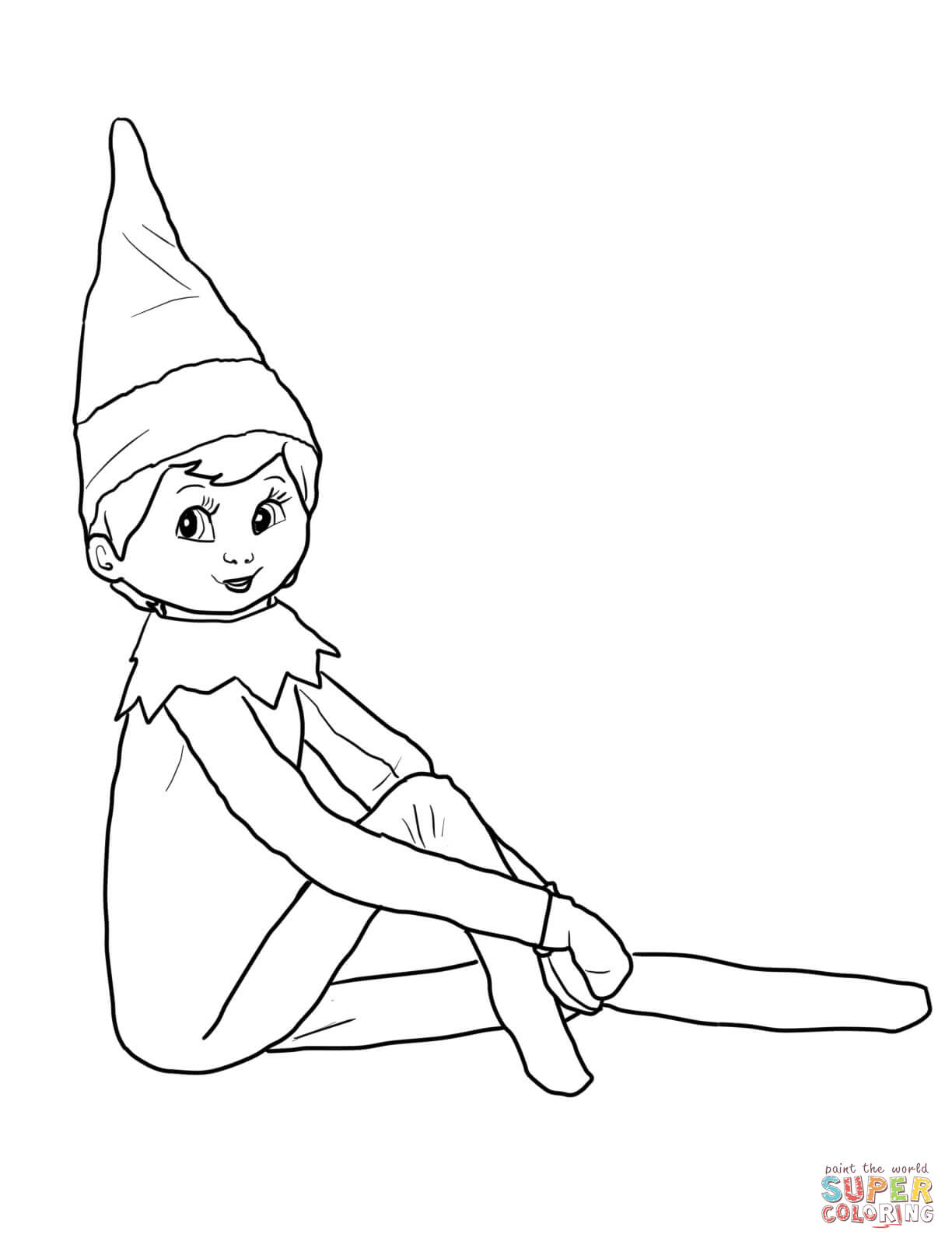 Elf On The Shelf Black And White Clipart.
