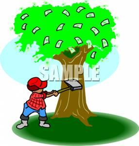 A Boy Chopping Down a Money Tree.