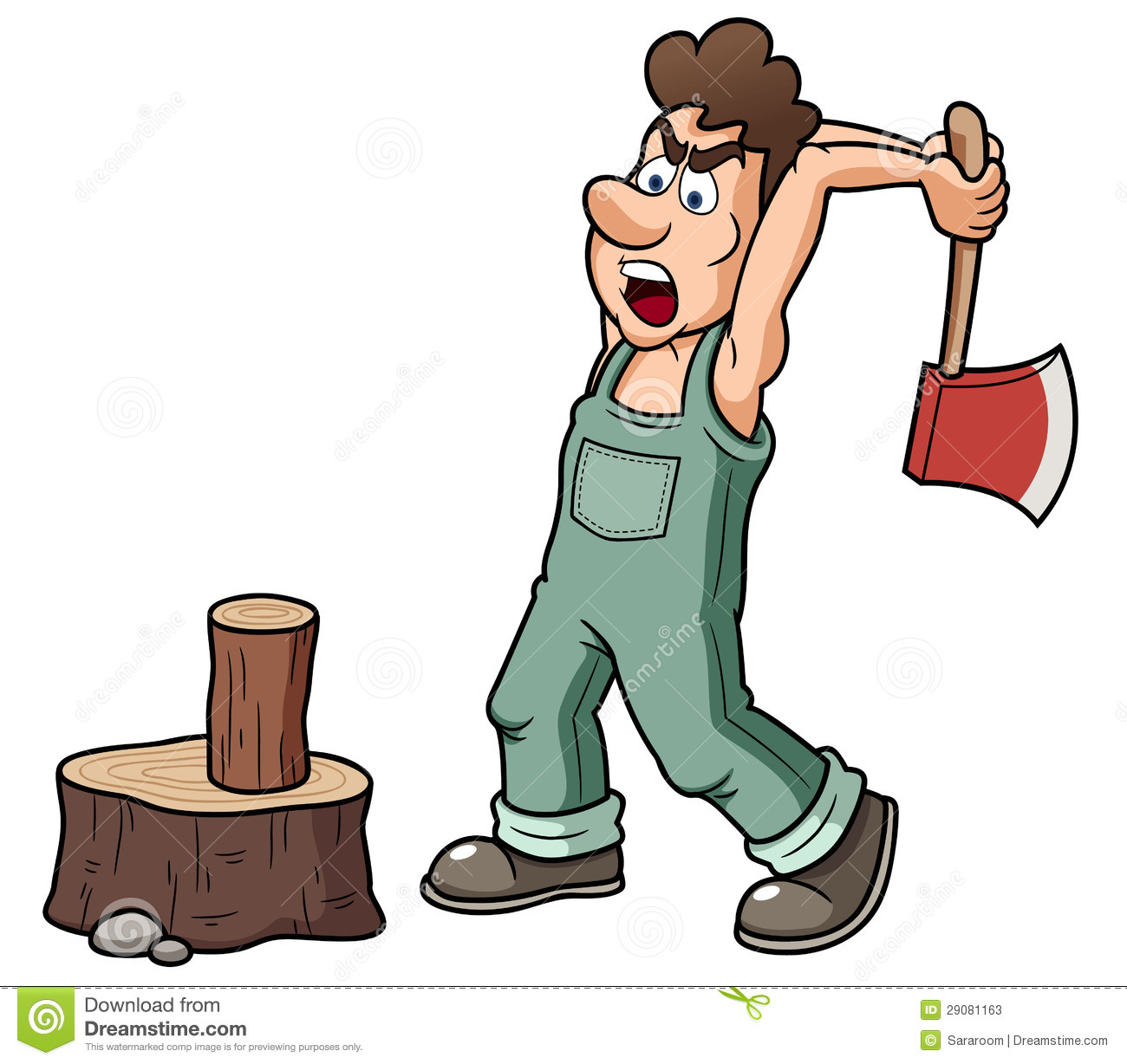 A Man Cutting A Tree With An Axe Clipart.