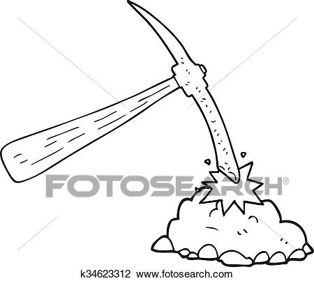 Black and white cartoon pick axe Clipart.