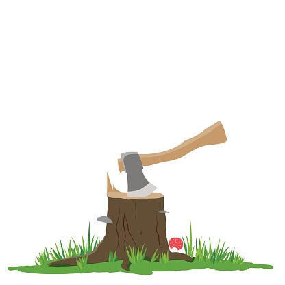 Axe in the stump Clipart Image.