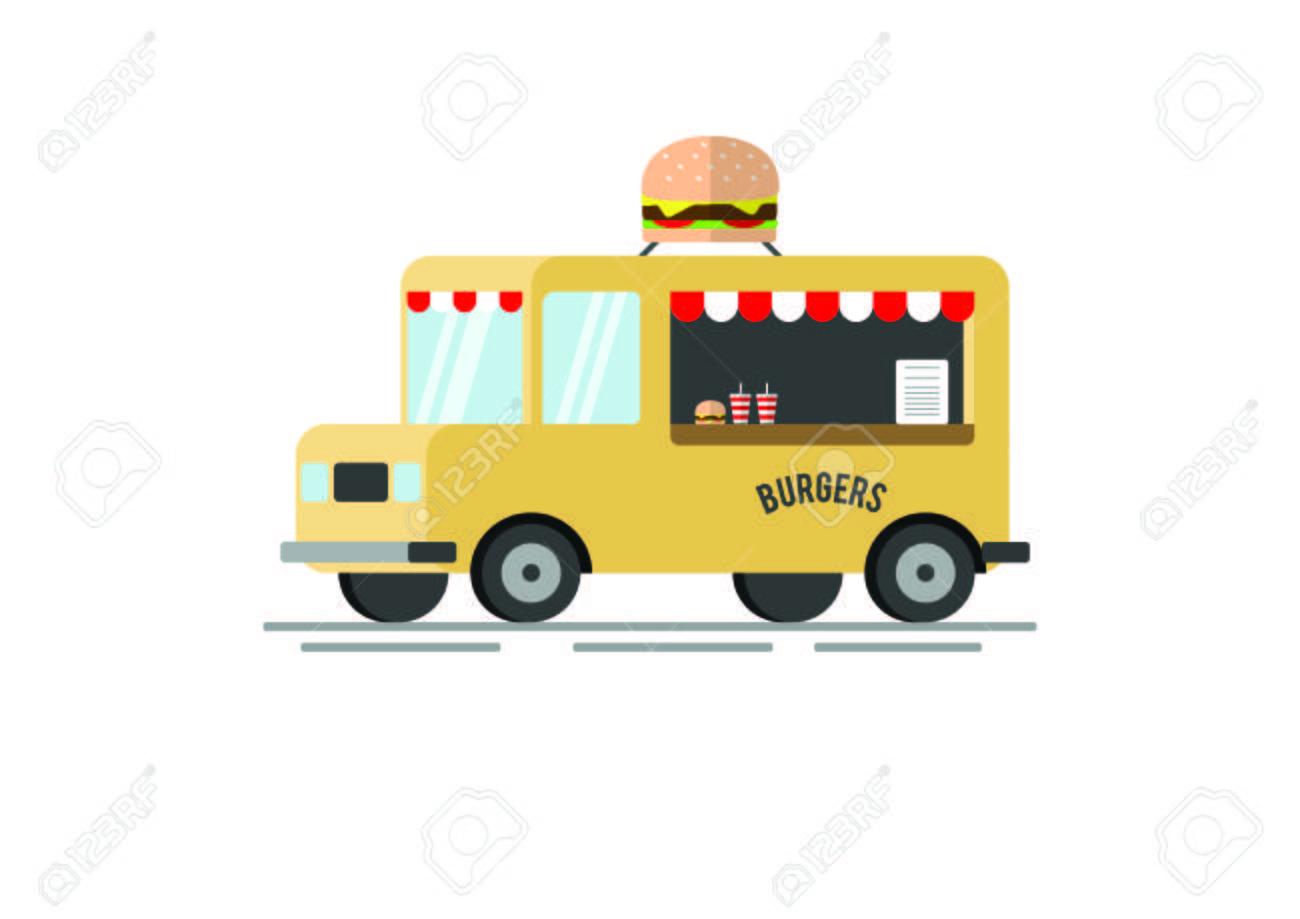 Burger Food truck vector flat illustration.