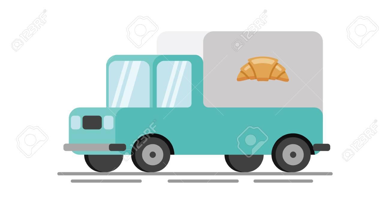 Bakery truck flat vector illustration.