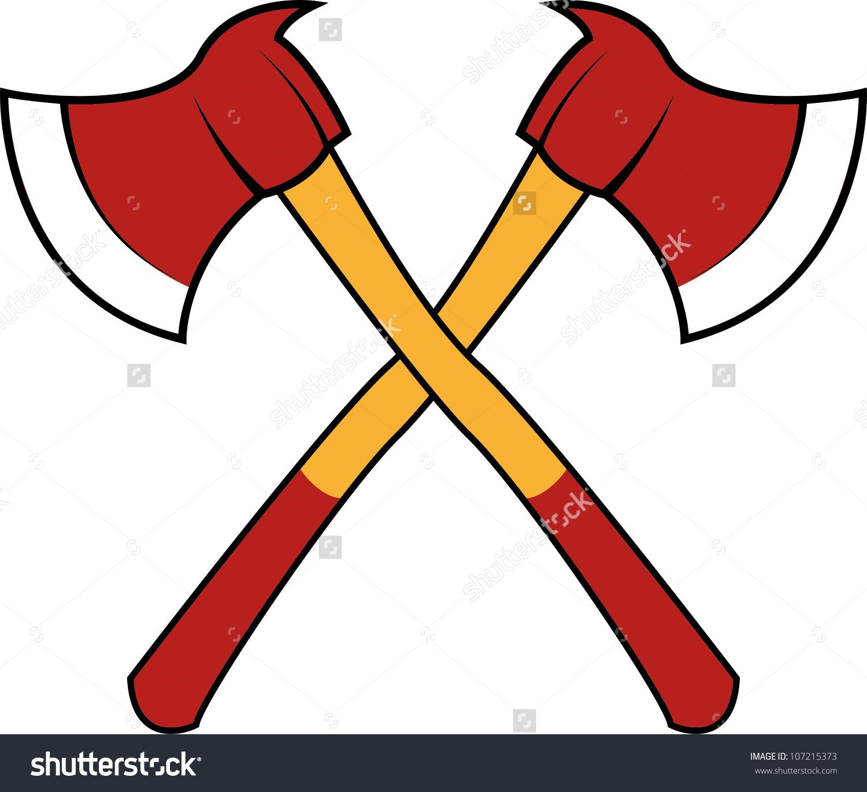 Fireman axes clipart outline.