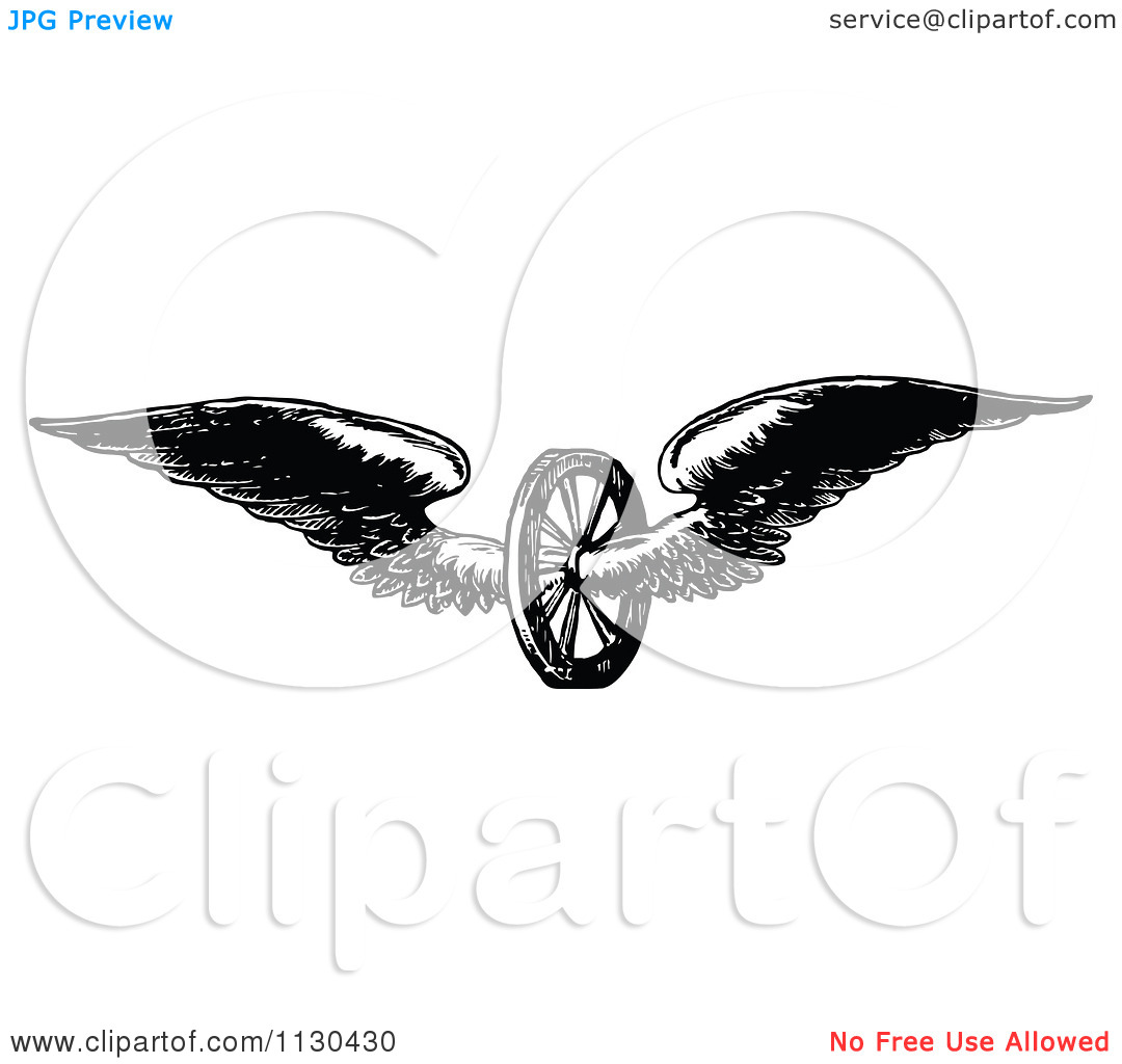Clipart Of A Retro Vintage Black And White Winged Axle Wheel.