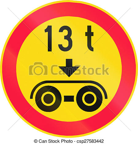 Stock Photo of Tandem Axle Load Limit in Finland.