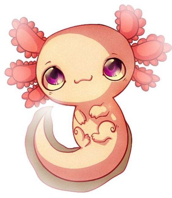 Cute cartoon Axolotl.