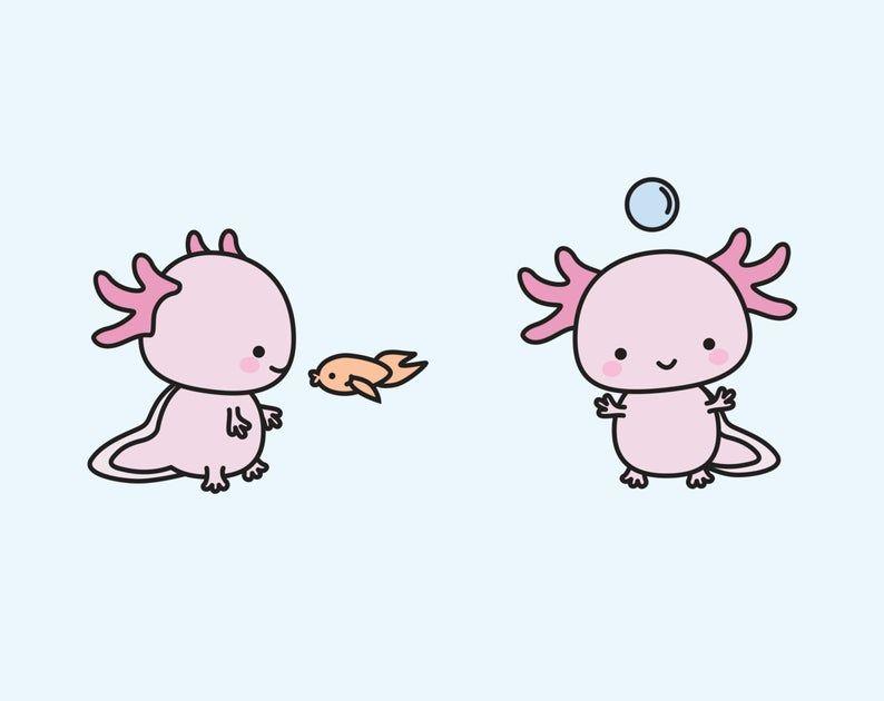 Premium Vector Clipart Kawaii Axolotls Cute Axolotl.
