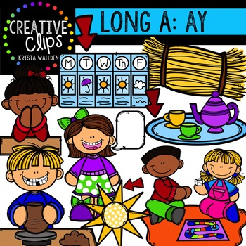 Long Vowel Clipart: AY Words {Creative Clips Digital Clipart}.