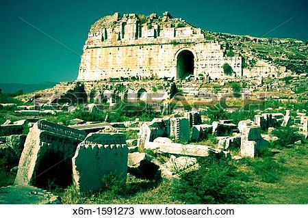 Stock Photo of Miletus ancient greek city ruins Aydin province.