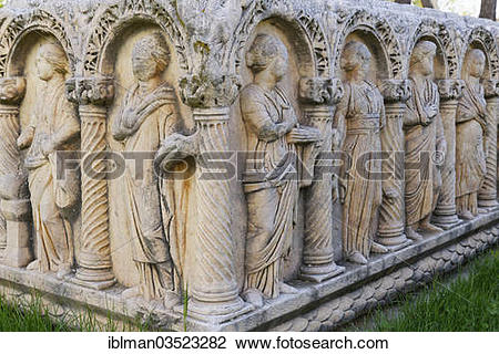 "Stock Photo of ""Statues on an ancient sarcophagus, Aphrodisias."