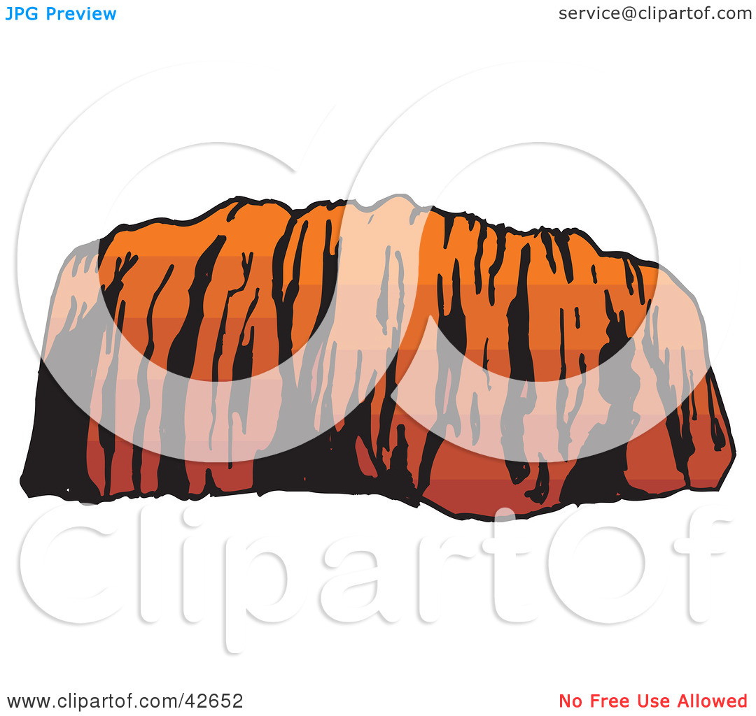 Clipart Illustration of Ayers Rock in Evening Light by Dennis.