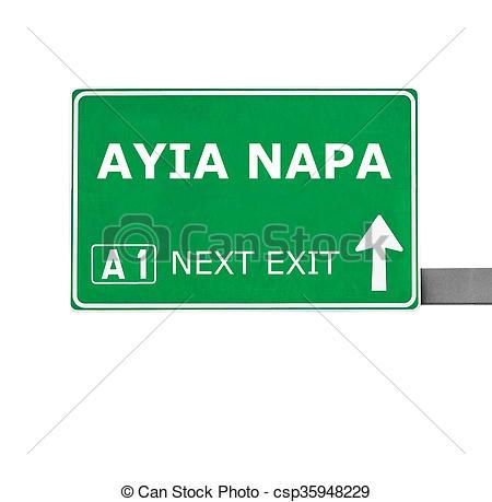Stock Photo of AYIA NAPA road sign isolated on white csp35948229.