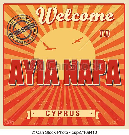 Vector Clip Art of Welcome to Ayia Napa retro poster.