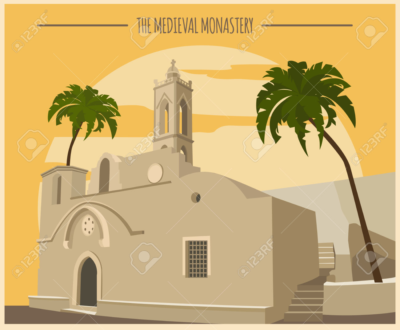 City Buildings Graphic Template. Ayia Napa Monastery. Vector.