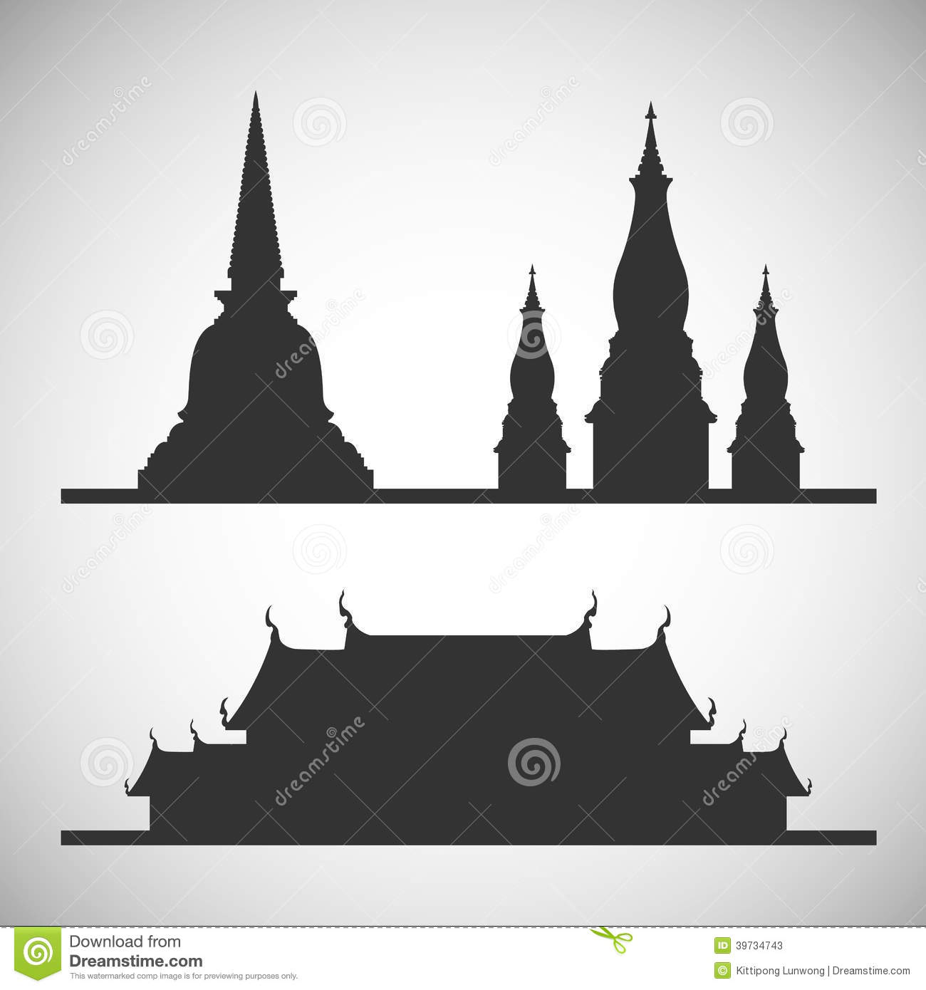 Thai Temple Silhouette Stock Photos, Images, & Pictures.