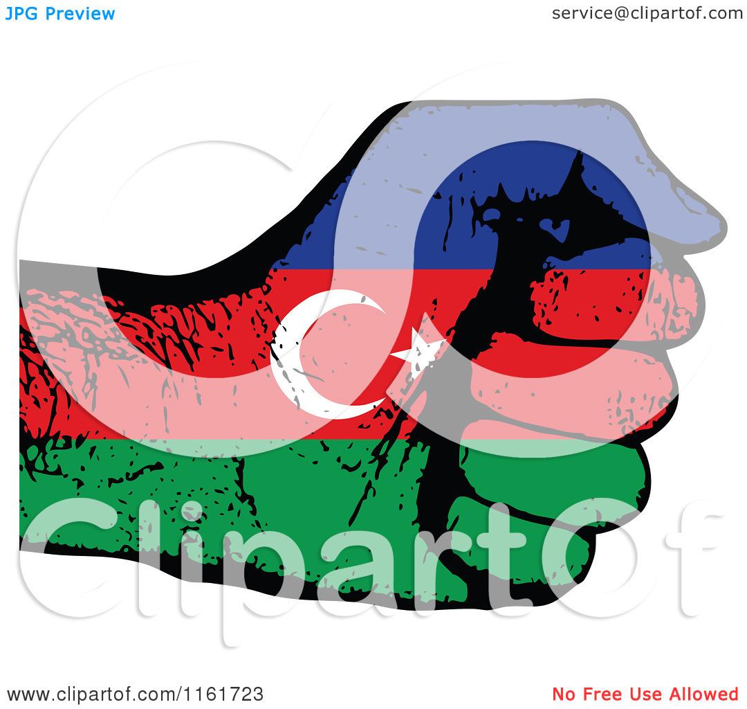 Clipart of a Fisted Azerbaijan Flag Hand.