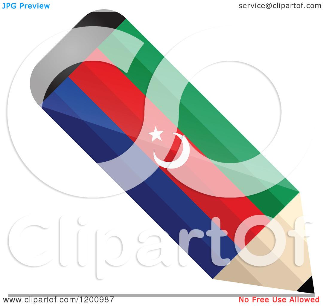 Clipart of a 3d Writing Azerbaijan Flag Pencil.