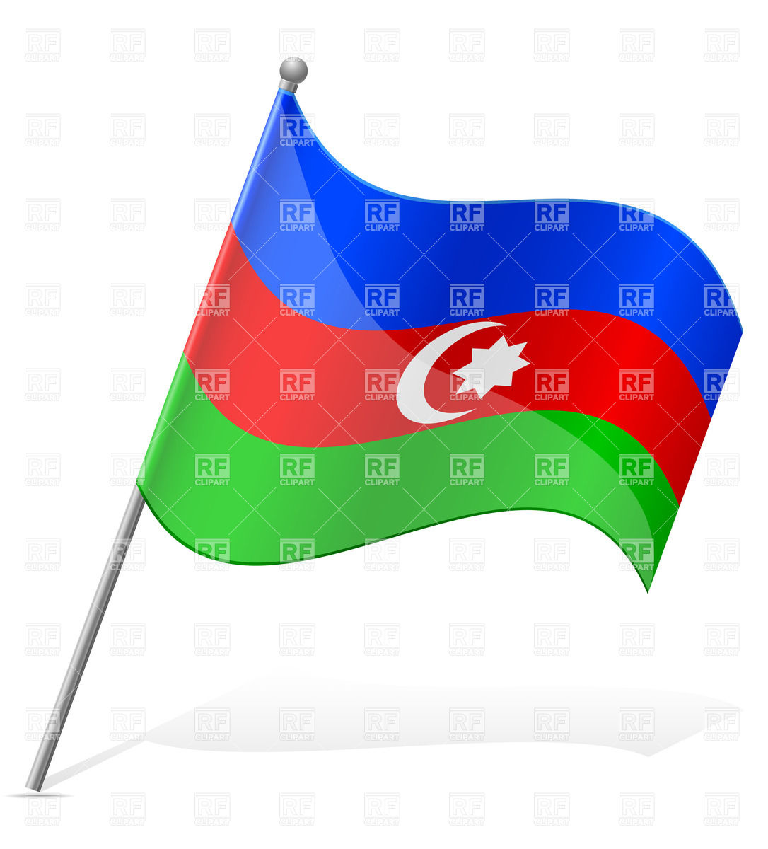 Wavy state flag of Azerbaijan.