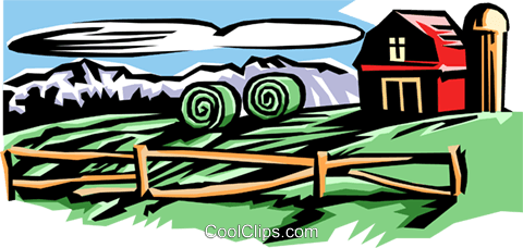 Azienda agricola con stalla e silo immagini grafiche vettoriali.