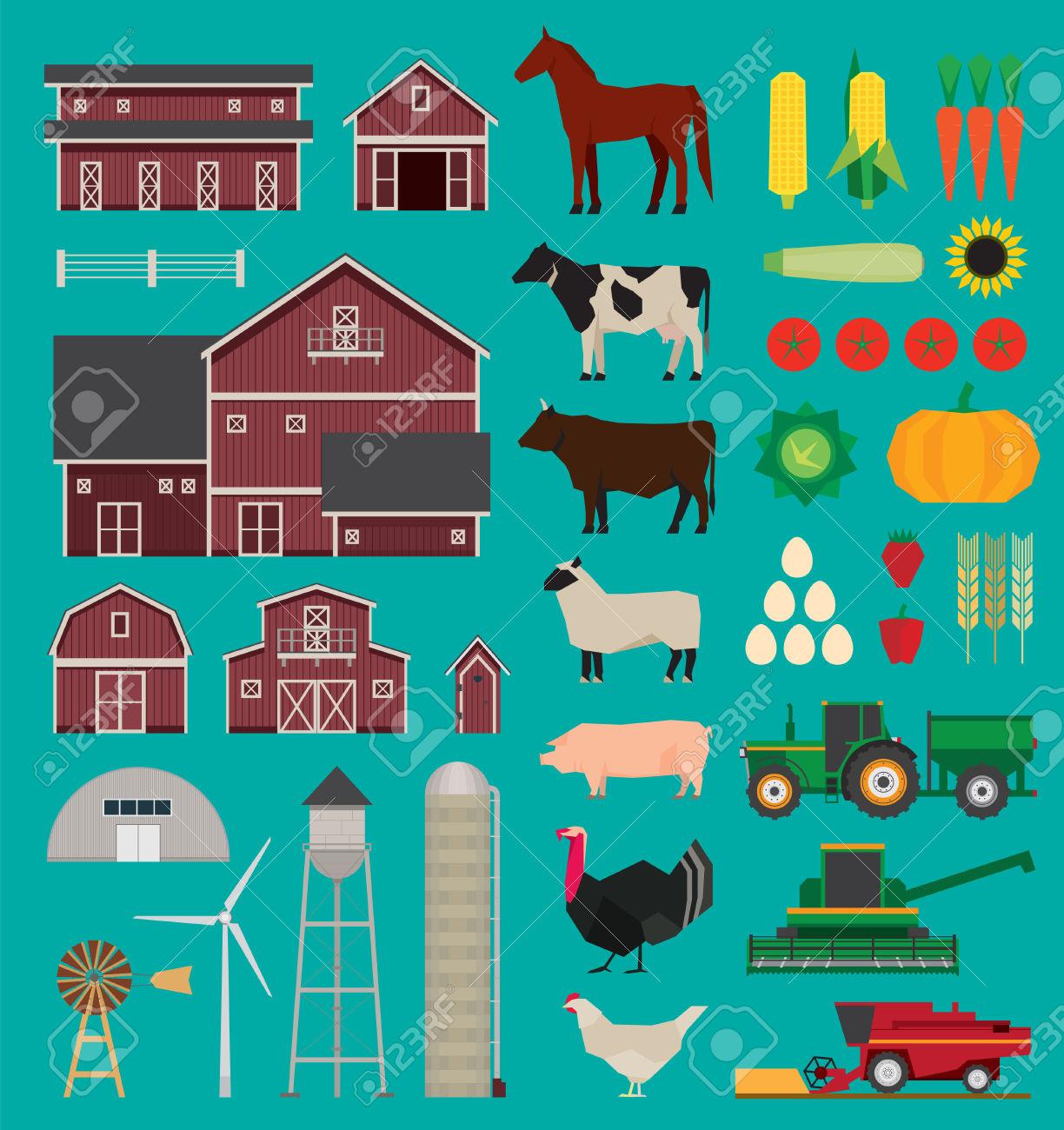 Azienda Agricola E Agricoltura Infografica Set Clipart Royalty.