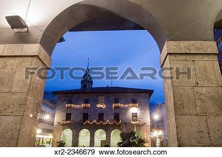 Stock Photograph of Town Hall of Azkoitia with Christmas lights.