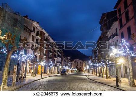 Stock Image of Christmas trees on the Main Street of Azkoitia.