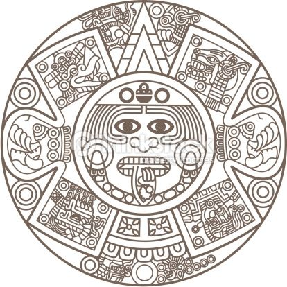Stylized Aztec Calendar in gold color, vector illustration.