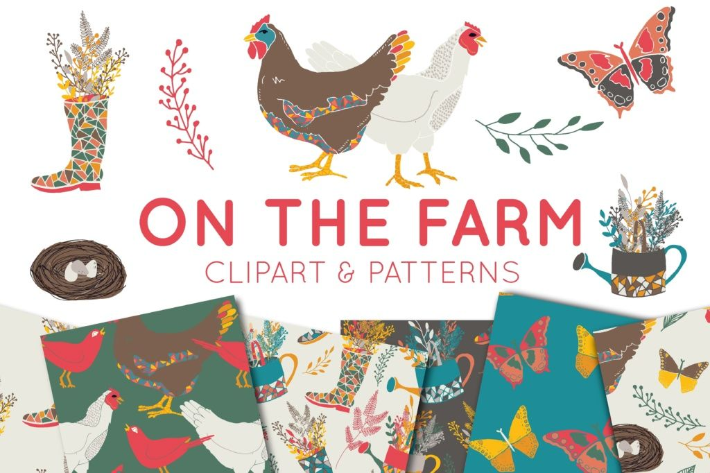 On The Farm Clipart and Digital Paper Set.