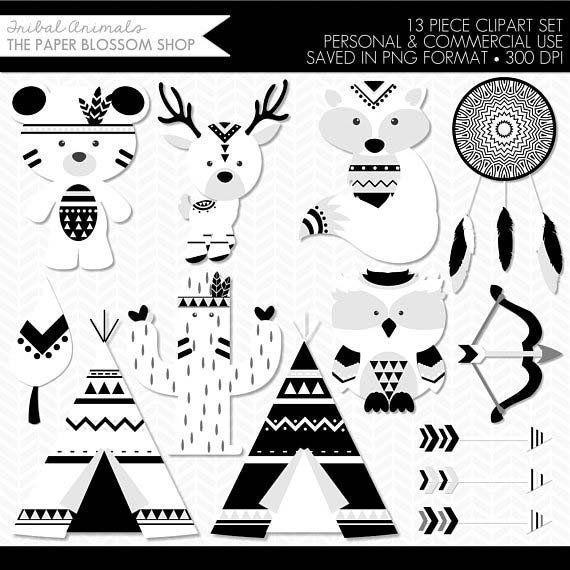 Tribal Animal Clipart,Tribal Animals,Woodland Animal Clipart.