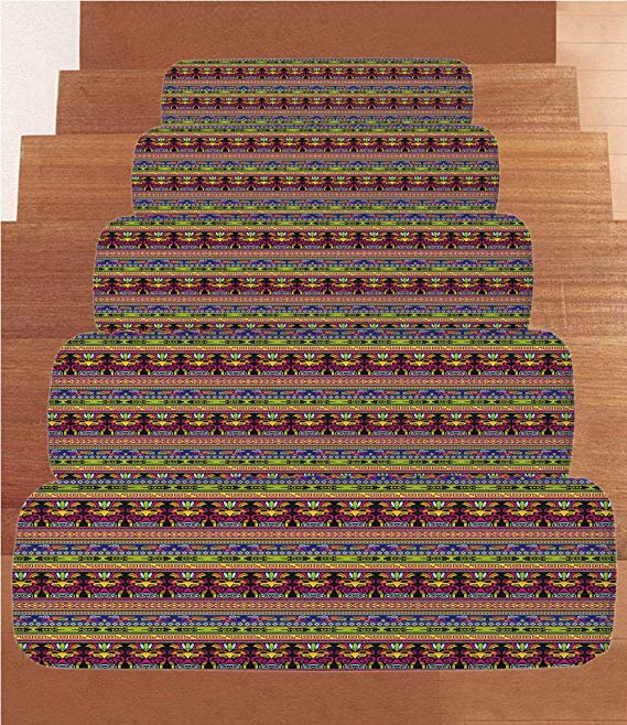 Amazon.com: iPrint Coral Fleece Stair Treads,Primitive.